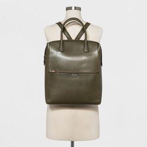 Zipper Commuter Backpack - Dark Green